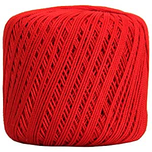 Crochet Thread - SIZE 3 - Color 12 - RED - 2 Sizes - 27 Colors Available