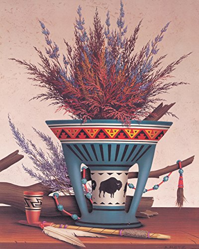 Native American Indian Pottery Pipe And Floral Wall Picture Art - Native American Pottery Indian