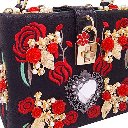 Flada mujeres y señoritas bordado bolso Rose caja cuadrada de metal tallado de piedras con PU cinturón de hombro Bolso de hombro negro Black