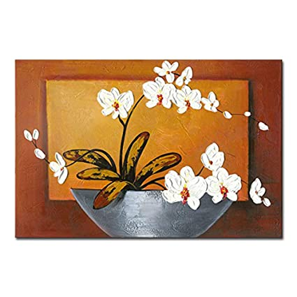 Amazon wieco art orchid floral oil paintings on canvas wall art wieco art orchid floral oil paintings on canvas wall art ready to hang for living room mightylinksfo