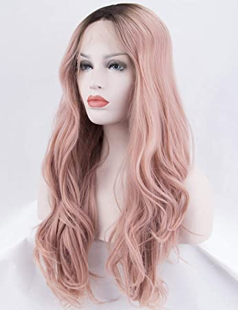 Scheherezade Ombre Pink Lace Front Wig for Women Half Hand Tied Long Peach Pink  Wig Natural 31369c017c