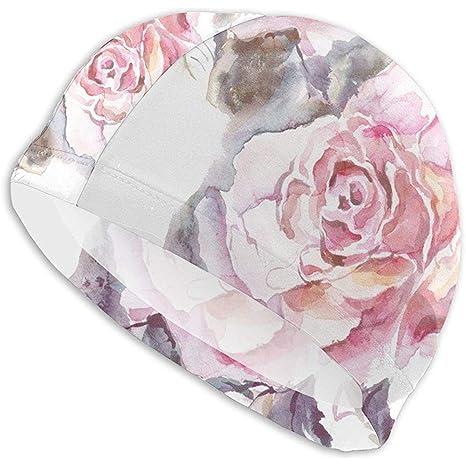 Elxf Flores Rosadas Dibujadas Hojas Gorras de natación para ...