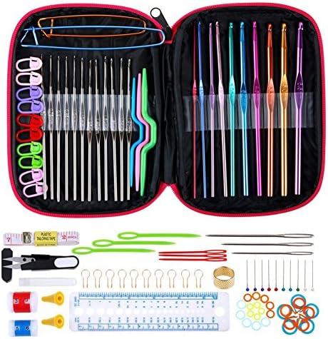 100 piezas de aluminio Crochet ganchos agujas de punto Set herramienta de lana para agujas Crafts herramientas con funda: Amazon.es: Hogar