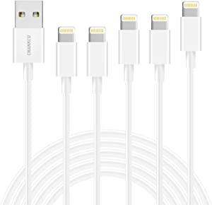 CNANKCU iPhone Charger,MFi Certified Lightning Cable 5 Pack(3-3-6-6-10ft) Durable High-Speed Charging & Data Syncing Cord Compatible iPhone 11/Pro/Xs Max/XR/X/8/8Plus and More -White