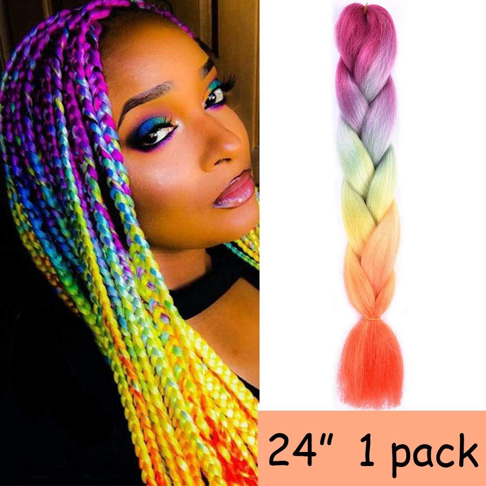 Silike Silky Jumbo Braiding Hair Afro Braiding Hair Extensions 3 Tone Ombre Colour 24 (1 Piece) (Rainbow 1)