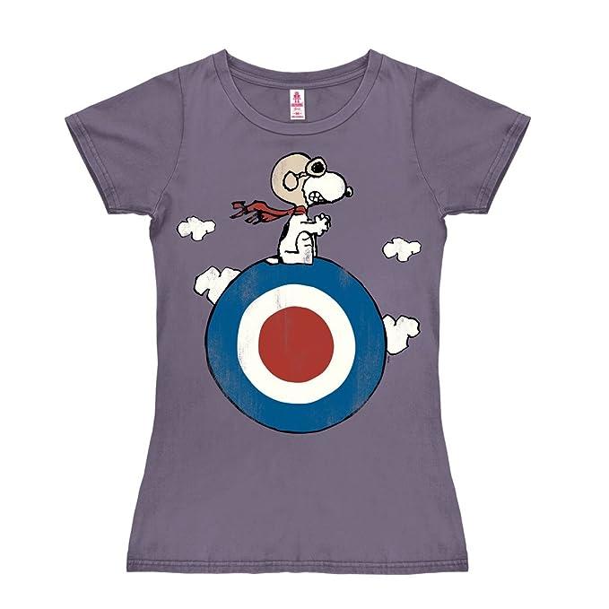 e2a169d4b Logoshirt Camiseta para Mujer Snoopy - El Blanco - Peanuts - Snoopy - Target  - de Color - Lavanda - Diseño Original con Licencia  Amazon.es  Ropa y ...