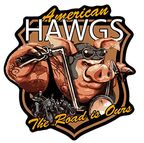 American Hawgs Motorcycle Pig Novelty Embroidered Biker Jacket Patch - Iron on Backing or Sew ()
