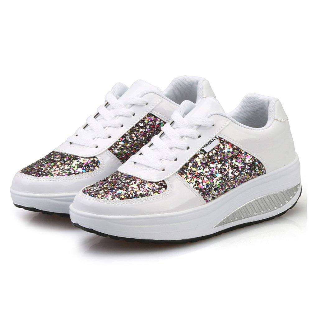3bfeb42a7 MINBEI Adelgazar Zapatos Sneakers para Caminar Zapatillas Aptitud Cuña  Plataforma Zapatos Mujer  Amazon.es  Zapatos y complementos