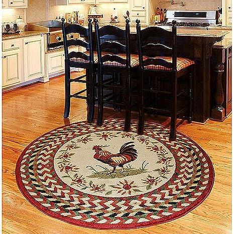 Amazon.com: Orian Rooster Braid Rouge 63\'\' Round Kitchen ...
