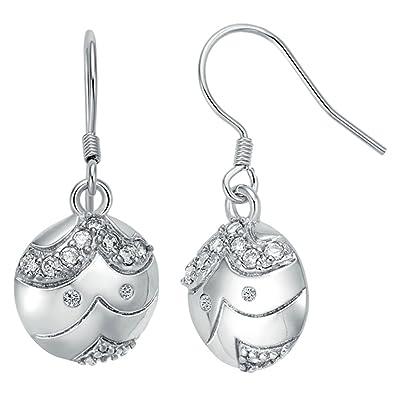 Amazon Com Women S Hoop Earrings Silver Plated Cartoon White