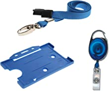 ID Card It ID Card Holder, ID Neck Lanyard & YoYo Badge Reel Set (Blue With Metal Clip)