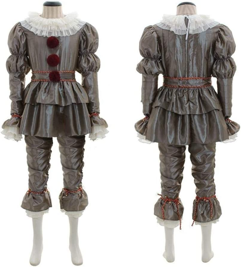 Binwe Costume da Clown Creepy It Cosplay Joker Vestito da Clown Halloween Set Completo Completo per Adulti Uomo Donna