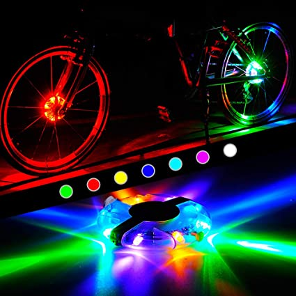 Chezaa Bike Wheel Lights 2 Pack Bicycle Wheel Lights Battery Powered Bike Spoke Lights Waterproof Brighter LED Color Changing Gifts for Adults Kids Safe Cycling Bike Tires Front /& Back Wheels