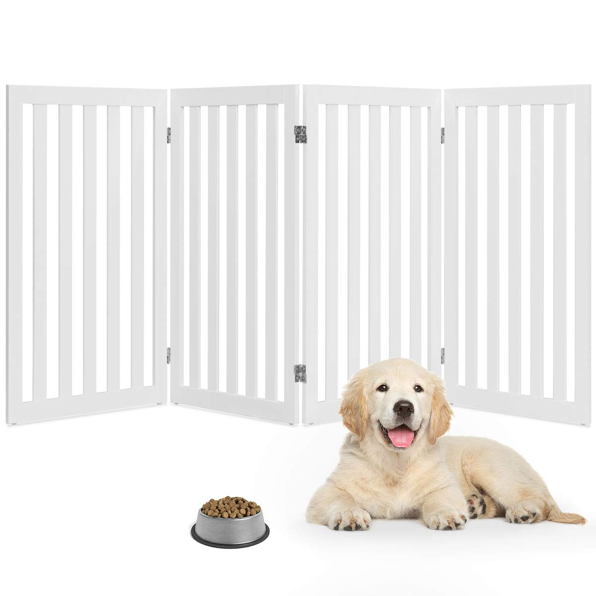 Giantex 36'' Wooden Dog Gate, Configurable Freestanding Pet Gate for Small and Large Pets, Foldable Tall Panels for House Doorway Stairs Extra Wide Pet Safety Fence (White, 80''W)