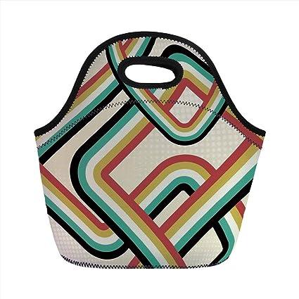 7ba3f43c2426 Amazon.com: Portable Lunch Bag, Trippy, Retro Striped Artistic ...