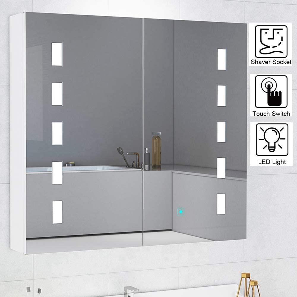 W Volitation Led Illuminated Bathroom Mirror Cabinet With Shaver Socket And Touch Switch With Lights Double