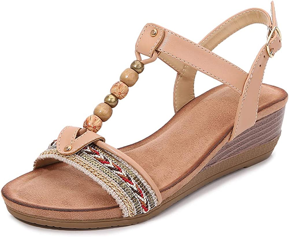 LAZZY Womens Wedge Sandals Bohemian