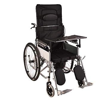 SXTYRL autopropulsable Plegable Silla de Ruedas Alargamiento de Respaldo y Pedal de Ajuste de Pasos múltiples