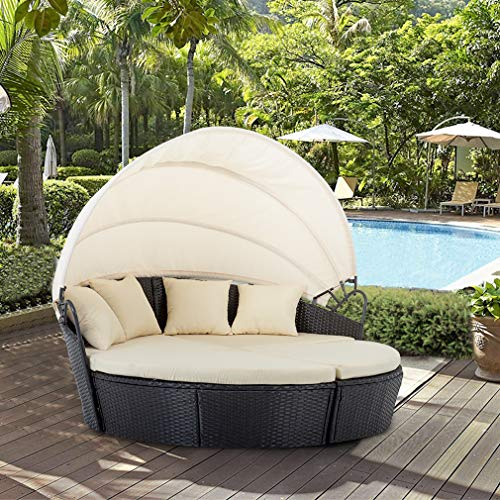 BestMassage Outdoor Patio Round Daybed Furniture Wicker Rattan Sofa Set Sunbed Retractable Canopy Waterproof Cushions Lawn Garden Backyard Porch Pool Balcony Furniture