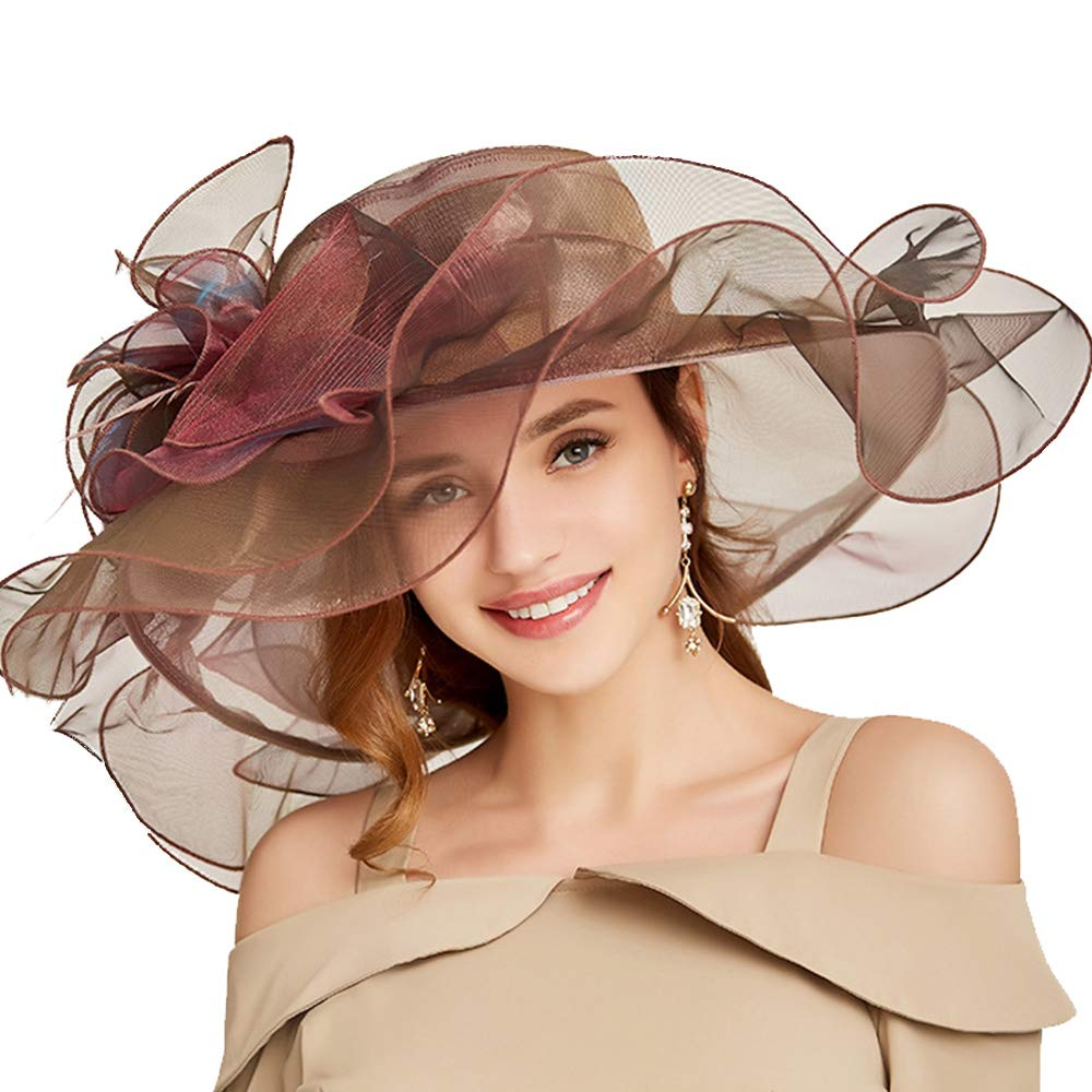 FADVES Women Oganza Sun Hat Church Kentucky Derby Wide Brim Wedding Formal Hat Wine Red