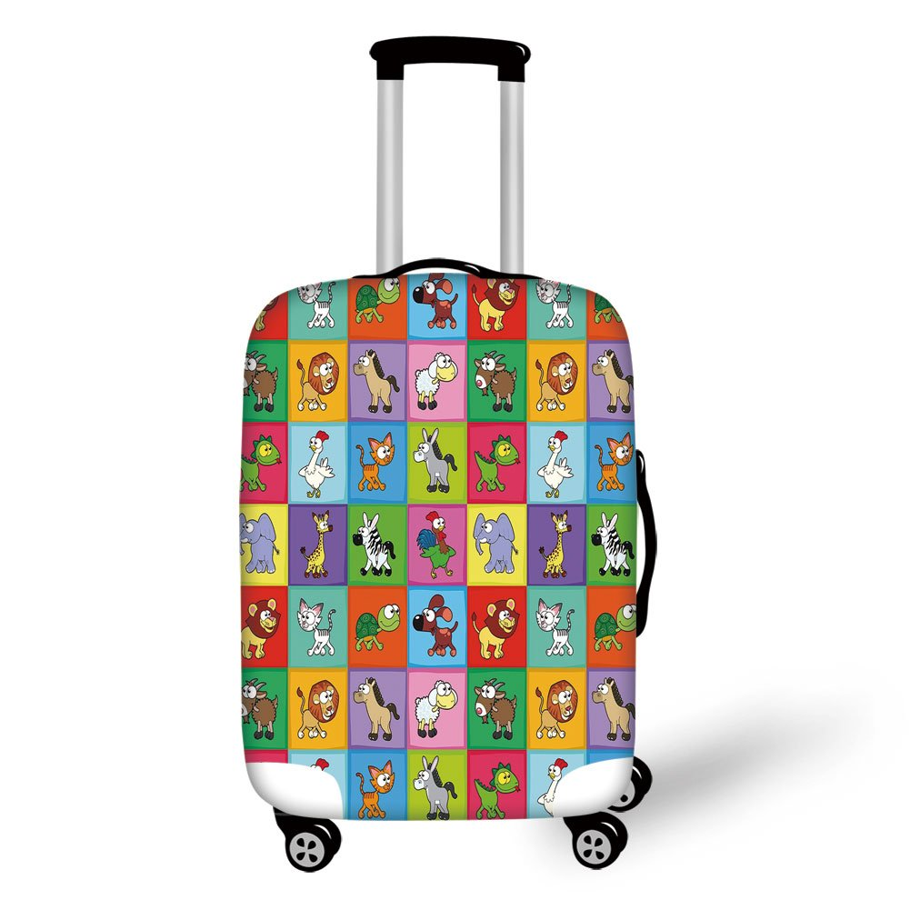 Travel Luggage Cover Suitcase Protector,Nursery,Group of Funny Young Animals in Colorful Squares Happy Cartoon Wildlife Collection Decorative,Multicolor,for Travel