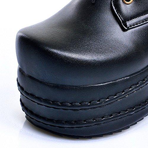 Amoonyfashion Womens Zacht Materiaal Gesloten Ronde Neus Stevige Laarzen Met Versiering Zwart