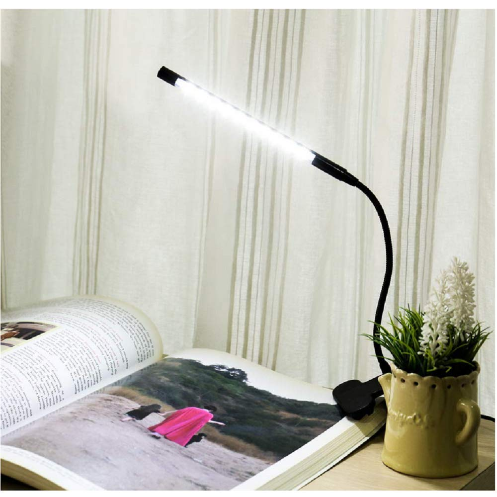 Studying Black Working NEVOC USB Clip on Reading Light LED Dimmable Book Light Bed Light for Eyes-Caring for Reading