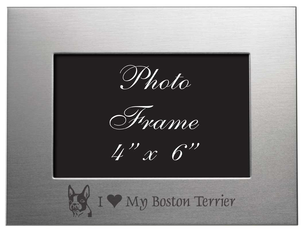 4x6 Brushed Metal Picture Frame - I Love My Boston Terrier by Sutter's Mill Specialties   B006E81YE8