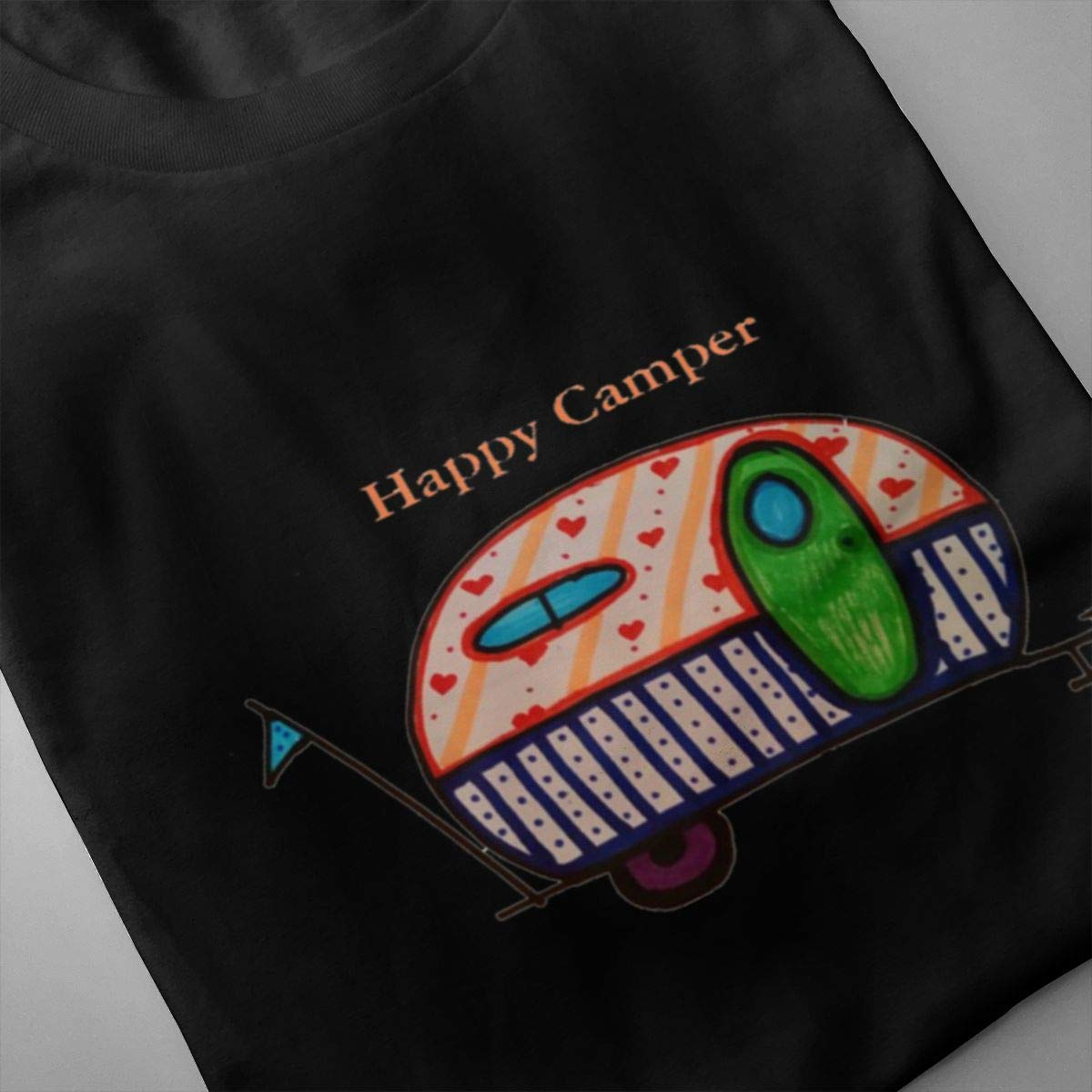 Luxendary Mens Logo Happy Camper Comfortable Sports Round Neck Short Sleeve T-Shirts