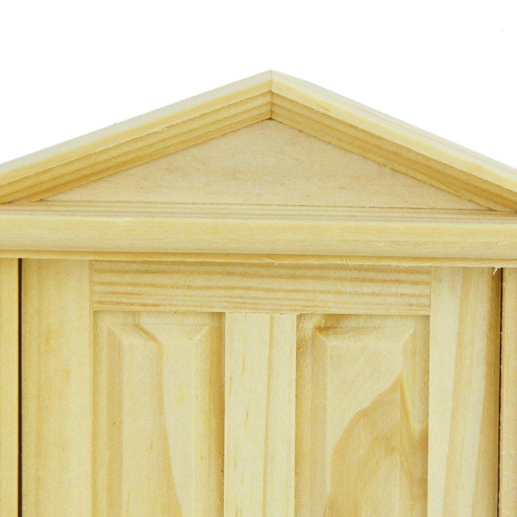 R TOOGOO 1//12 Casa de Munecas Miniatura del Exterior Hacia El Interior Abierta Puerta de Madera con Steepletop