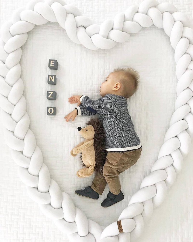 Amazon.com : Infant pad Braided Crib Bumper Soft Knot Cushion Pillow ...