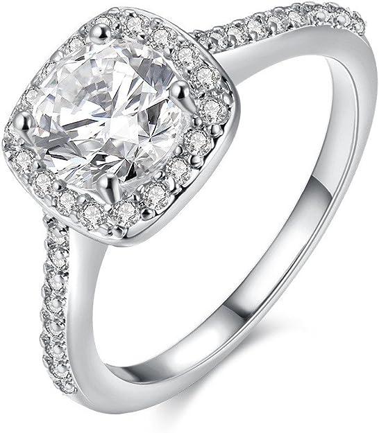 Echt 925 Sterling Silber Ring Luxus Kleine Diamant Solitär Engagement Hochzeit.