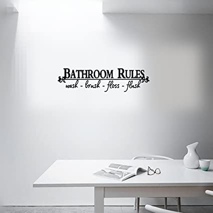 Amazon Com Wall Sticker Quotes Bathroom Rules Waterproof Wall