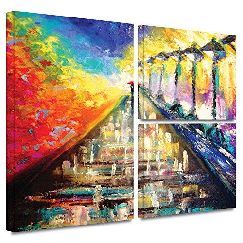 ArtWall Susi Franco 'Paris noche de lluvia' bandera 3piezas Cuadro de lona envuelta, 36x48, 1