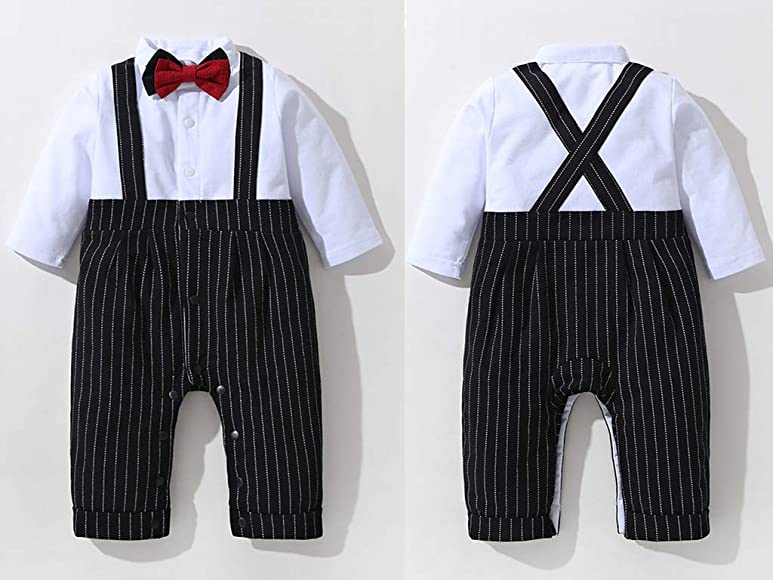 3-18 Months Gentleman Jumpsuit /& Vest Coat /& Berets with Bowtie and Supenders mintgreen 3pcs Baby Boy Suit Set