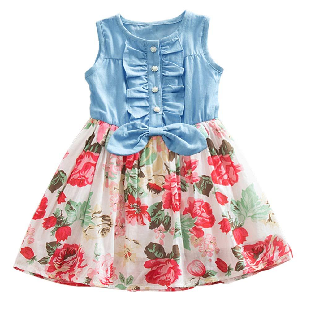 YOUNGER STAR Toddler Baby Little Girls Princess Dresses Summer Sleeveless Casual Denim Dress Floral Print Tutu Skirts