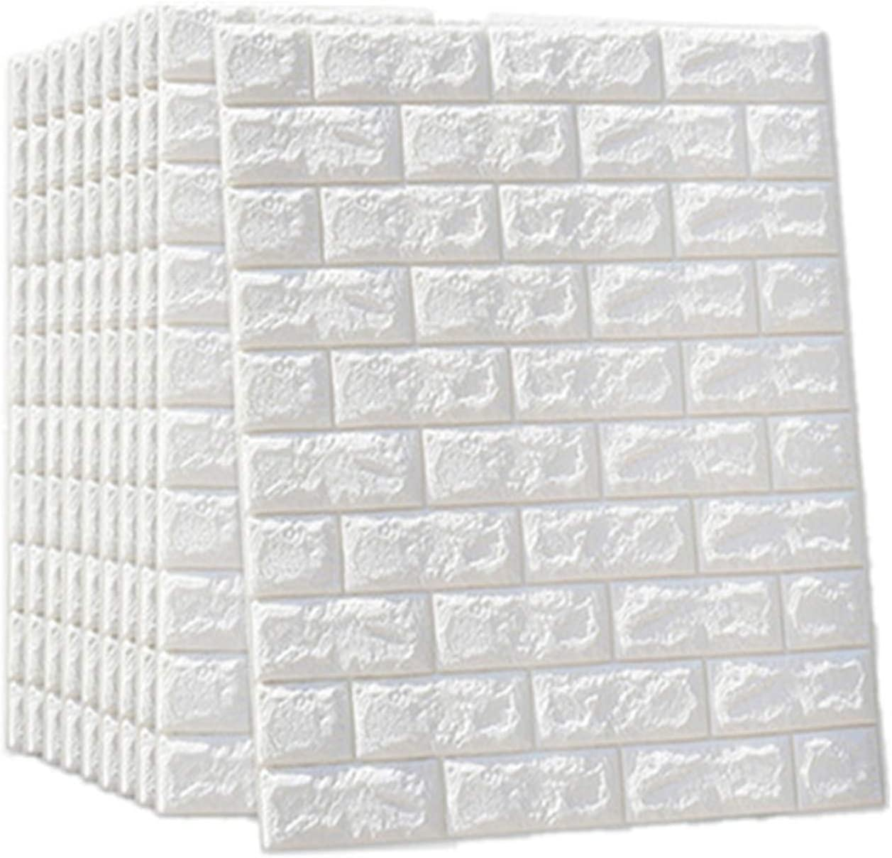Lehom Wall Bricks 10 Pack 3D Wallpaper 27.5 x 30 inch Self-Adhesive Wallpaper Foam Brick Wall Panels for Bedroom Living Room Background Wall Decoration White
