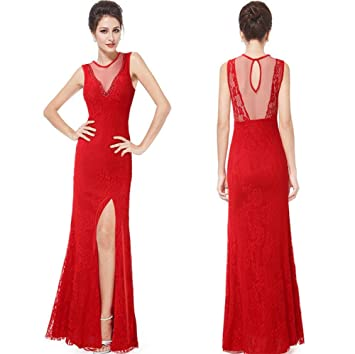 pengweiSlit at the Lacy red long dress dresses evening dresses , S/M