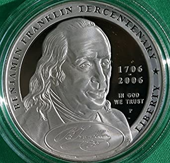 2006 Benjamin Franklin Founding Father Commem Proof Silver Dollar Coin as Issued