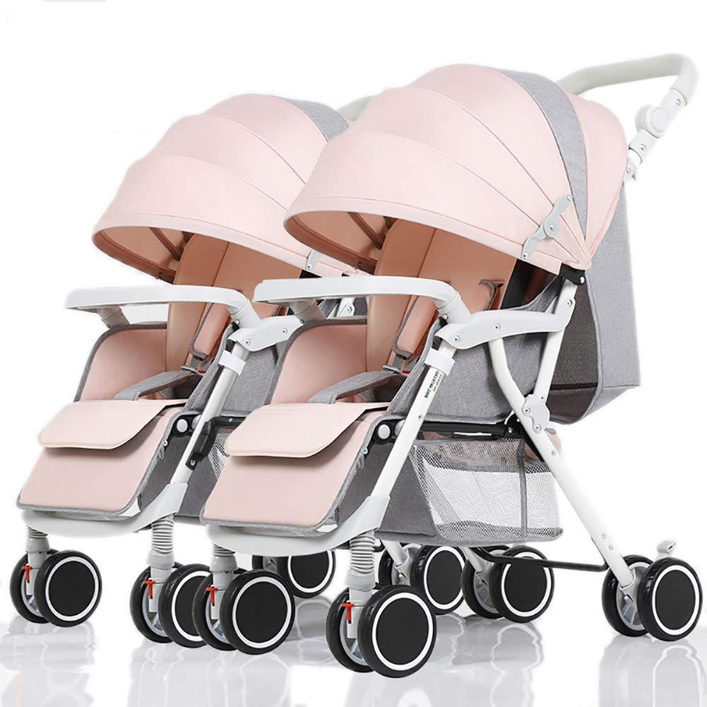 Lll- ツインベビーベビーカー、脱着式、折り畳み式軽量サスペンション新生児用トロリー (色 : ピンク)  ピンク B07QL71QL6