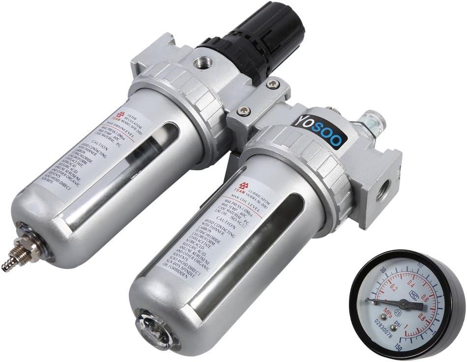 Unit/é de maintenance en aluminium pneumatique S/éparateur deau Filtre taxe qualit/é de lair 24//× 16,50//× 800/cm