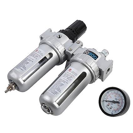 Druckluft Wasserabscheider mit /Ölnebel 1//2  Luftregler Filter Druckminderer f/ür Kompressor