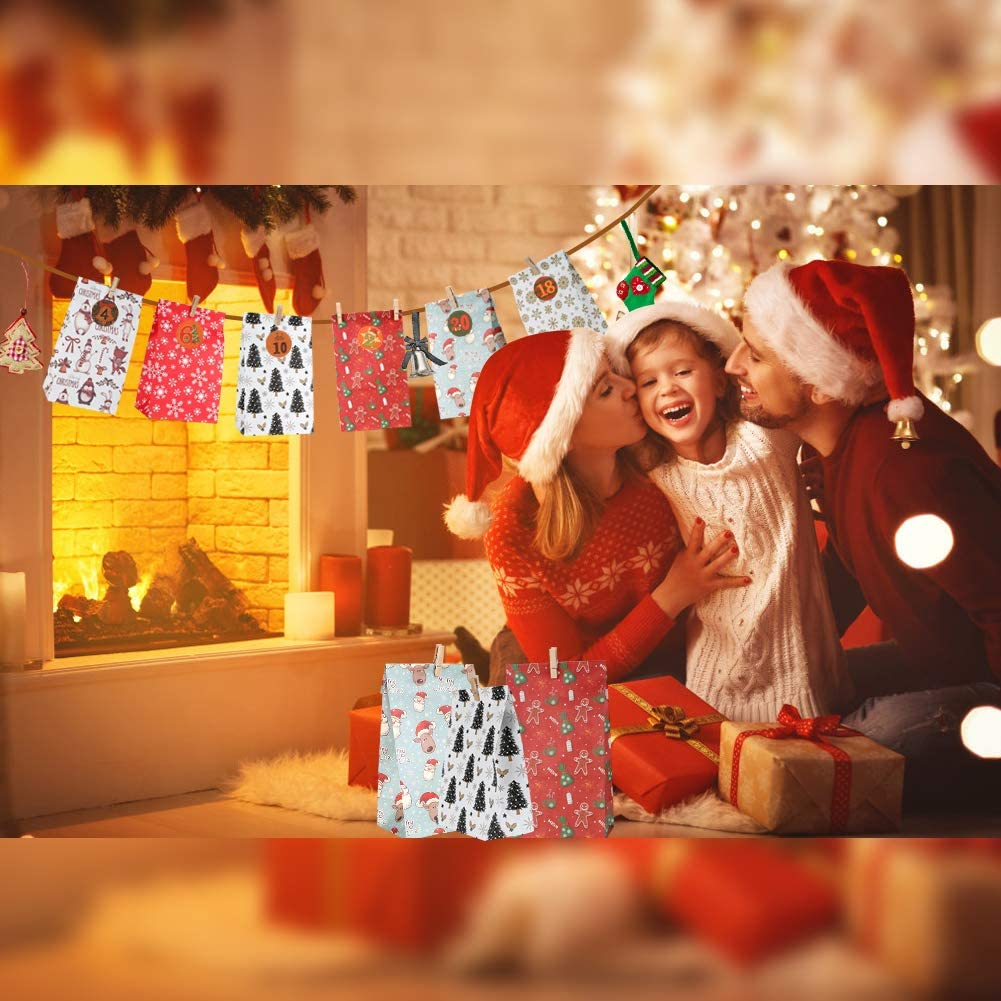 DazSpirit 24 Christmas Advent Calendar 2020 Hidden Surprise To Your Loved Ones With 1-24 Stickers Bags Xmas Small Gift Bags To Fill Diy Advent Calendar Bags Make Your Own Advent Calendar