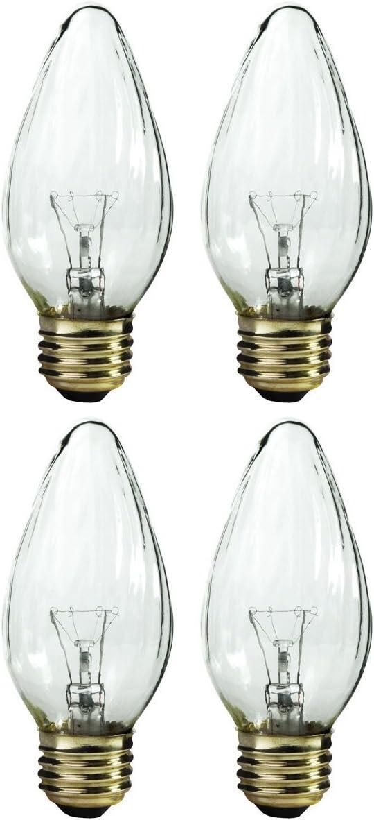 Pack of 4 60/F15 60 Watt Decor Wrinkled Flame Medium Base Shatter Resistant Incandescent Light Bulb