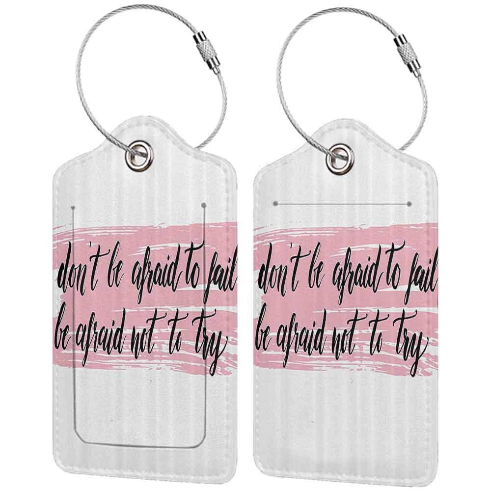 Waterproof luggage tag Lifestyle Decor Do Not Be Afraid to Fail Be Afraid Not to Try Motivation Quote Print Soft to the touch Baby Pink Black W2.7 x L4.6