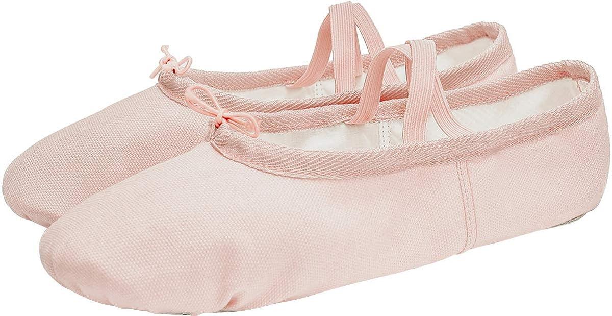L-RUN Girls Ballet Shoes Womens Dance Shoes Flat Dancing Slipper Canvas Vamp Leather Sole