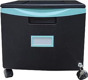 Storex Plastic 1-Drawer Mobile File Cabinet, Letter/Legal, Black/Teal