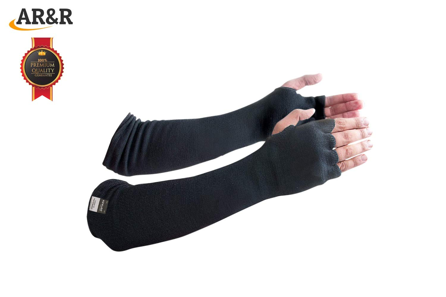 Kevlar Arm Sleeves,Cut/Knife/Heat/Scratch Resistant 18 Inch Long Elbow Cover Level 4 EN Tested Glass/Metal Cutting,Grinding,Welding UV Protection Lightweight/Washable/Flexible Pair (Finger Opening)