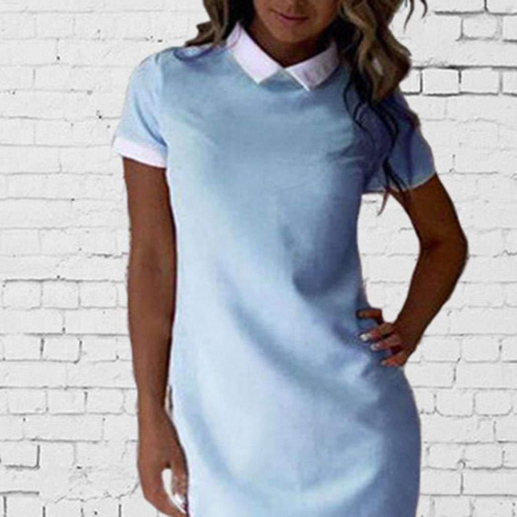 9e58d2068ac Republe Femmes Bureau Col Blanc Robe Chemise d été à Manches Courtes Robe  Patchwork  Amazon.fr  Vêtements et accessoires