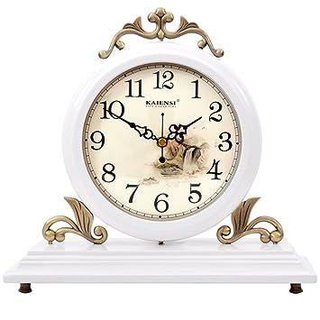 AIZIJI Relojes de Madera Maciza dúplex Continental Reloj Retro Silencio Dibujo Creativo Grande Reloj Elegante decoración Adornos Reloj de Escritorio ...